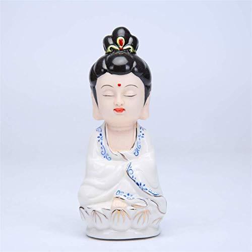 HappyL Cerámica Blanca Pequeña Estatua De Buda Linda Bendición Mobiliario Estatua De Buda Amitabha Esculturas Decoraciones del Arte For La Casa (Color : Type 2)