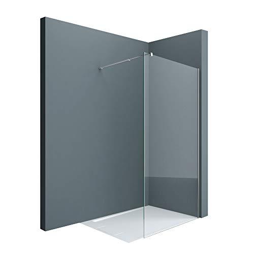 doporro Luxus Duschwand Duschabtrennung Bremen2K 90x200 Walk-In Dusche mit Stabilisator aus Echtglas 10mm ESG-Sicherheitsglas Klarglas inkl. Nanobeschichtung