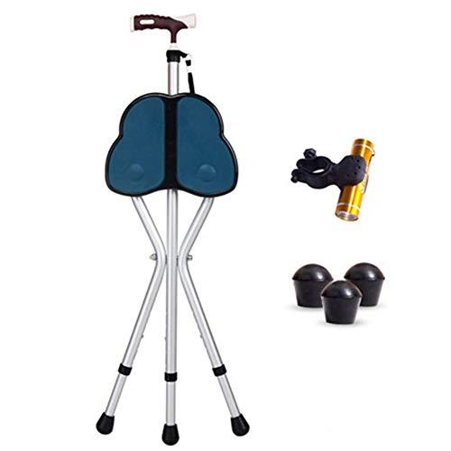 Aid Folding Seat Cane, Gehstock & Stuhlsitz, Travel Cane Chair, Leichter, dreibeiniger Stock mit Hocker, für den Angelgarten Camping Event Hocker