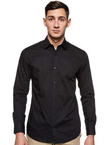 Jack & Jones Jprnon Iron Shirt L/s Noos Camisa, Negro (Black Fit:Slim Fit), X-Small para Hombre
