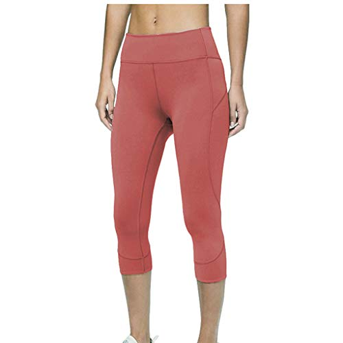 Yoga Pants for Women, Solid Stretch Yoga Leggings Fitness Running Gym Sports Active Pants(Red,XS)