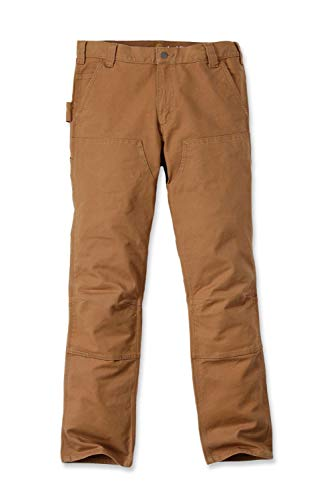 Carhartt Mens Straight Fit Stretch Duck Double Front Work Utility Pants, Gravel, W36/L32