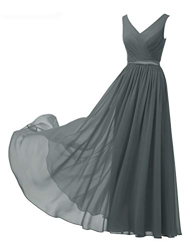 Alicepub V-Neck Steel Grey Bridesmaid Dresses Chiffon Long Maxi Formal Dress for Women Party Evening Sleeveless, US8