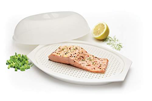Kitchen Craft Contenitore con Coperchio per la Cottura di Pesci a Forno Microonde, Alluminio, Bianco