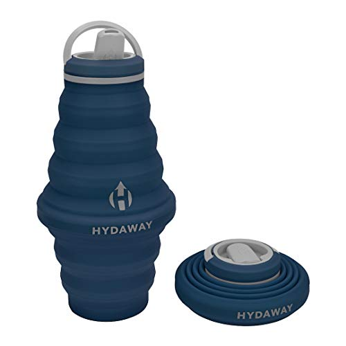 HYDAWAY Collapsible Water Bottle, 25oz Spout Lid | Ultra-Packable, Travel-Friendly, Food-Grade Silicone (Seaside)