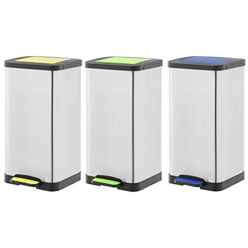 Amazon Basics Set of 3 Pedal Recycling Bins, Yellow, 3x15L