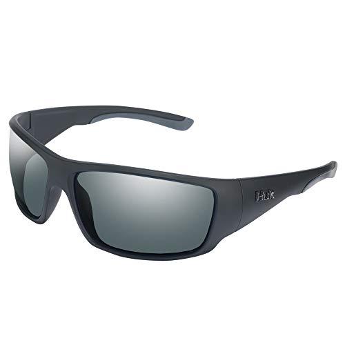 HUK Men's Polarized Oval Sunglasses, (Spearpoint) Gray/Matte Black, One Size
