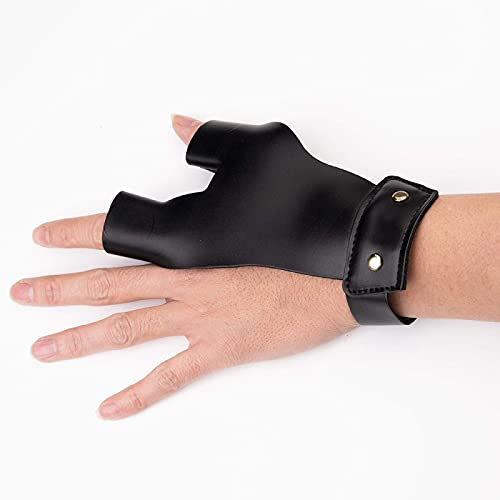 Arrow Gloves 2 Finger Protective Guard Leather for Left Hand Hunting Recurve Traditional Longbow(Black)