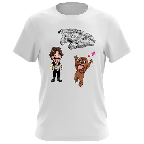 Maglietta Bianca da Uomo Parodia Star Wars - Caricature SD di Han Solo, Chewbacca e Il Falcon Millenium Mini Drone - (T-Shirt di qualità Premium in Taglia 5XL - Stampata in Francia - RIF : 1096)