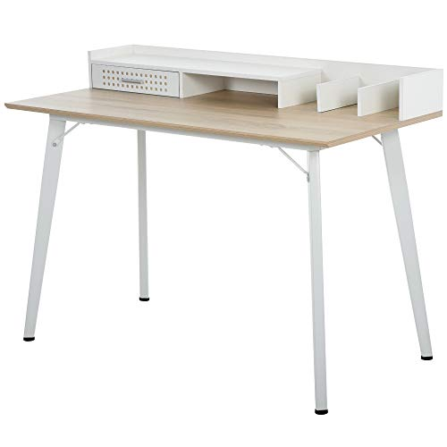HOMCOM Modern Computer Desk Laptop Writing Table w/Hutch 1 Drawer workstation Home Office Furniture Oak Color and White