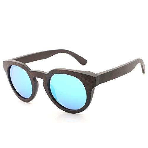 Yeeseu Marco de las gafas de sol hechas a mano de madera de bambú Lentes Compatible with hombres y mujeres ronda gafas de sol polarizadas gafas de moda de la vendimia (Color: Rojo, Tamaño: Libre) Cicl
