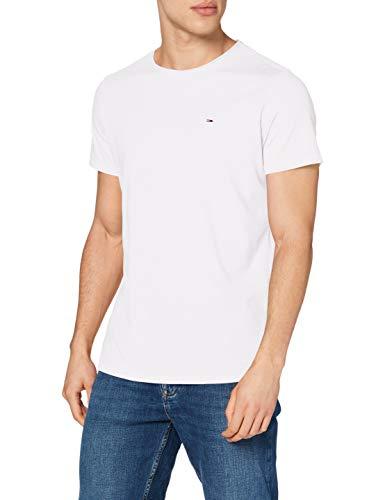 Tommy Jeans TJM Slim Jaspe C Neck Camiseta, blanco, XS para Hombre