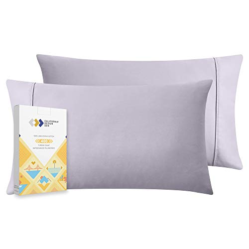 400 Thread Count 100% Cotton Pillow Cases, Lavender Grey Standard Pillowcase Set of 2, Long - Staple Combed Pure Natural Cotton Pillows for Sleeping, Soft & Silky Sateen Weave Bed Pillow Covers