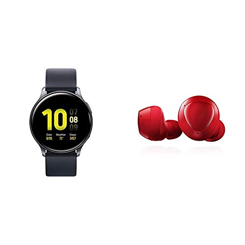 Samsung Galaxy Watch Active 2 (40mm, GPS, Bluetooth), Aqua Black with Samsung Galaxy Buds+ Plus, True Wireless Earbuds (Wireless Charging Case Included), Red – US Version
