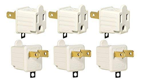 3-Prong to 2-Prong Adapter Grounding Converter 3 Pin to 2 Pin Power AC Ground Lifter for Wall Outlets Plugs, Electrical, Household, Workshops, Industrial, and Appliances, Color Light Gray, 6-Piece.