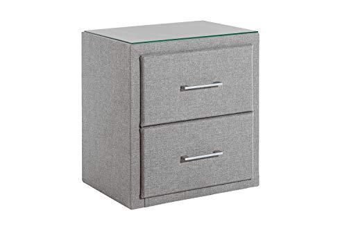Furniture for Friends Möbelfreude® Nachtkonsole Tablo Hellgrau mit 2 Schubladen, Nachttisch mit Stoffbezug und Glasablage passend für Boxspringbetten und Polsterbetten