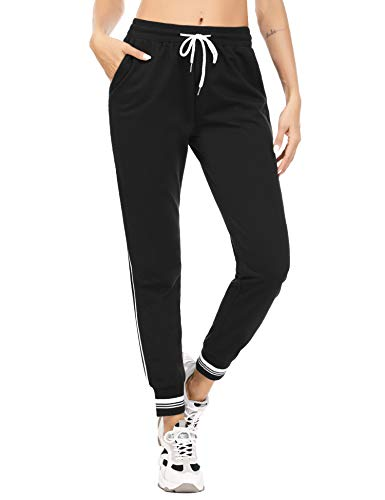 Akalnny Jogginghose Damen Trainingshose High Waist Sporthose Lang Sweathose Laufhosen Baumwolle mit Taschen Yogahosen für Frauen Schwarz XXL
