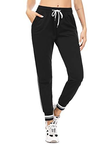 Akalnny Jogginghose Damen Trainingshose High Waist Sporthose Lang Sweathose Laufhosen Baumwolle mit Taschen Yogahosen für Frauen Schwarz M