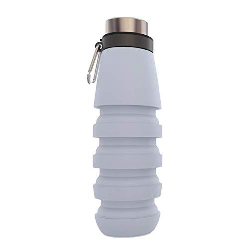 crazerop Botella de agua plegable de 500 ml, portátil, a prueba de fugas, botella de silicona, reutilizable, para camping, viajes, deportes, fitness