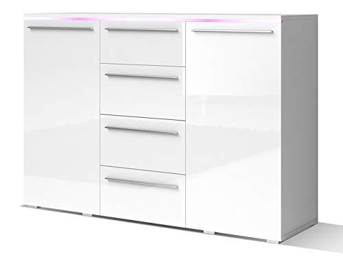 Mirjan24 Kommode Sideboard Bergamo mit 4 Schubladen, Highboard, Anrichte, Mehrzweckschrank, Wohnzimmerschrank, Schrank, Wohnzimmer (mit RGB LED Beleuchtung, Weiß/Weiß Hochglanz)