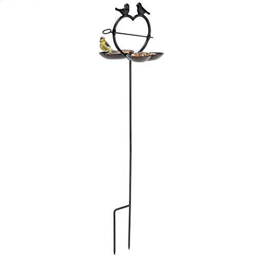 bonsport Vogeltränke für den Garten, stehend - Vogelfutterstation mit Stab und Erdspieß aus Alu Guss