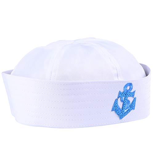 LUOEM Gorras de Marinero Blanco Capitán de Yate Adulto Sombreros de Marinero Azul Marino Sombreros Náuticos Disfraz de Marinero de Halloween Accesorios de Crucero Accesorios para