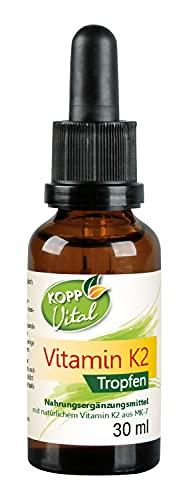 Kopp Vital Vitamin K2 Tropfen - vegan - 30ml | Vitamin K2 ist in MCT-Öl gelöst | Sojafrei | All-Trans-Gehalt von 99,5 Prozent | hohe Bioverfügbarkeit