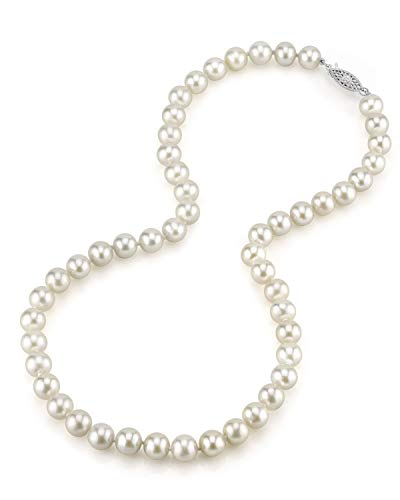 The Pearl Source White Japanese Akoya Saltwater Cultured Pearl Necklace