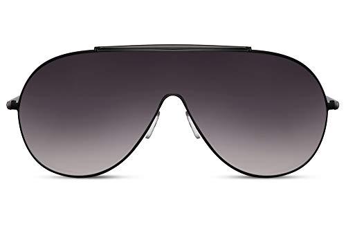 Cheapass Sonnenbrille Schwarz Metall Rund Pilotenbrille Dunkel Einteiliges Objektiv Übergroße XL Groß UV400 Männer Frauen