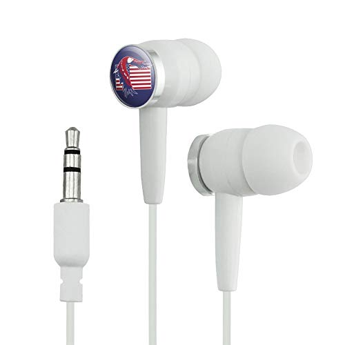 GRAPHICS & MORE Patriotic Red White and Blue American Bald Eagle Over USA Flag Novelty in-Ear Earbud Headphones