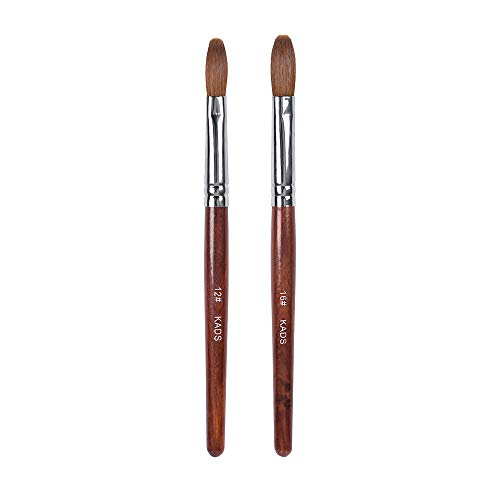 2 stücke Kolinsky Sable Haar Nagelbürste Rot Holz Stift UV Gel Nail art Maniküre Malwerkzeug 12# & 16#