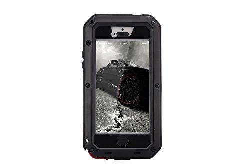 Funda antigolpes, hecha de Gorilla Glass, resistente al agua, la nieve, el polvo, para iPhone 5, 5S y 5SE, de 4 pulgadas negro negro