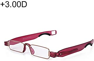WTYD Clothing and Outdoor Accessories Portable Folding 360 Degree Rotation Presbyopic Reading Glasses with Pen Hanging, 3.00D(Black) Outdoor Equipment (Color : Wine Red)