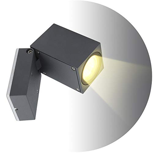 Topmo-plus 5W Bañadores de pared para interior/exterior resistente al agua IP65 foco de aluminio/sala de estar/terraza/jardín GU10 luces incluidas 10CM gris (blanco cálido)