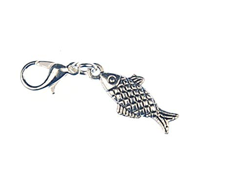 Miniblings Fisch kariert Forelle Charm Angeln Angler Silber schlank - Handmade Modeschmuck I Kettenanhänger versilbert - Bettelanhänger Bettelarmband - Anhänger für Armband