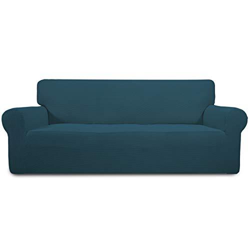 Easy-Going Funda elástica para sofá de 1 pieza, protector de muebles, suave con parte inferior elástica para niños, tela jacquard de licra (sofá, verde azulado)