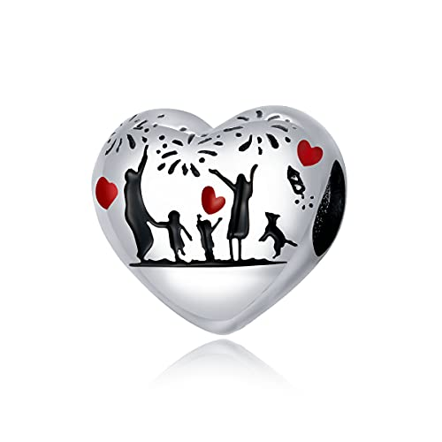Annmors Home Party Heart Charms 925 Sterling Silver Bead para Pulseras