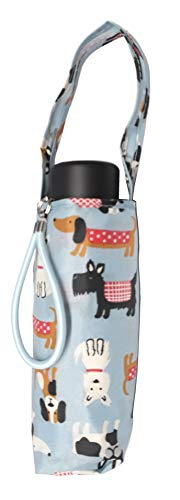 Totes Micro Mini Manual Compact Umbrella, NeverWet technology, Light Blue With Multicolored Dogs, Puppies, 38