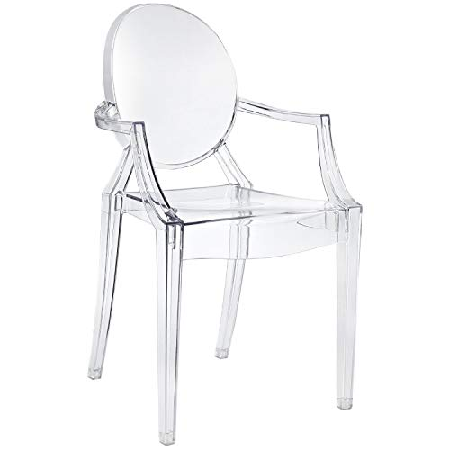 Nicer Furniture Set of1 Philippe Starck Louis XVI Ghost Chair with Arms-Modern Armchair with Arm Polycarbonate Plastic in Clear Transparent Crystal