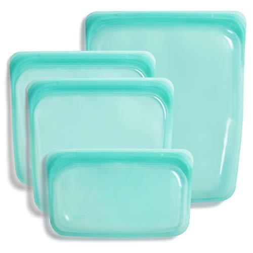 Stasher Platinum Silicone Food Grade Reusable Storage Bag,Aqua (Bundle 4-Pack Small) | Reduce Single-Use Plastic | Cook, Store, Sous Vide, or Freeze | Leakproof, Dishwasher-Safe, Eco-friendly