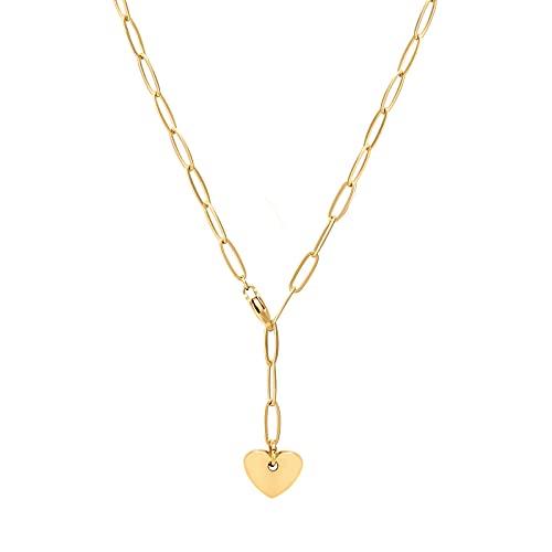 KRKC Collar de cadena de eslabones de oro,Collar de corazón de cadena de clip de papel relleno de oro,Collar personalizado de longitud gruesa gruesa cadena