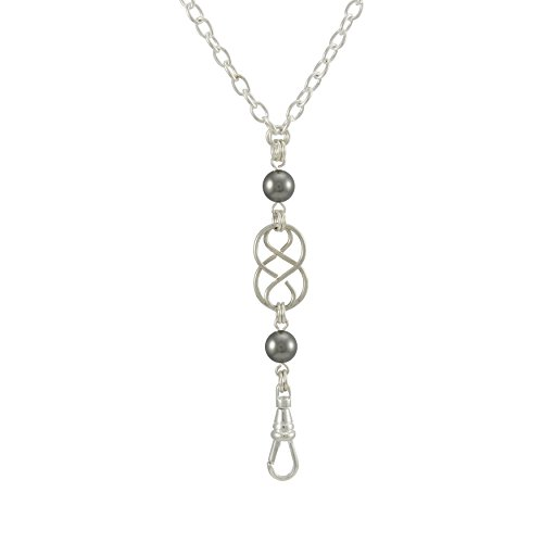 Brenda Elaine Jewelry Women's Fashion Lanyard Necklace ID Badge Holder, 32 Inch Silver Chain with Silver Celtic Knot and Dark Gray Pearl Pendant & No Rear Clasp
