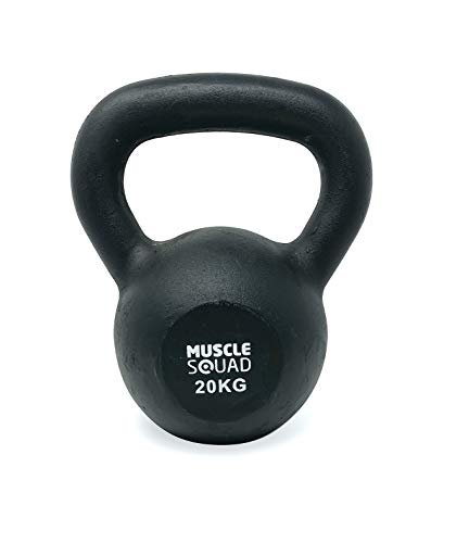 MuscleSquad Cast Iron Kettlebell 20kg - Kettlebell Weights Workout Equipment For Home Or Gym Use