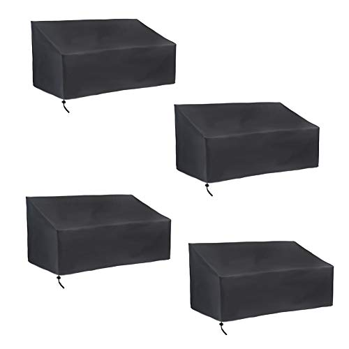 QFLY Waterproof Patio Bench Cover Durable 2/3/4 Seater Bench Cover Anti-UV/Anti-Wind Garden Bench Cover Patio Furniture Cover For Bench Loveseat Sofa 420D Oxford Cloth - Black Furniture cover