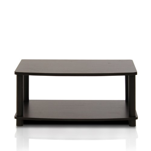 FURINNO Turn-N-Tube No Tools 2-Tier Elevated TV Stand, Espresso/Black