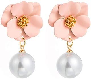 Sinkcangwu New Fashion Sweet Cute Earrings Statement Bohemian Style Cute Flower Stud Earrings For Women Girls Wedding Jewe...