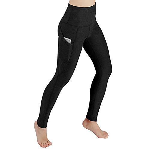 Damen Sport Leggings, Lang Yoga Tights,Damen Leggings lang Sport Yoga Hose Stretch Workout Schwarz mit Tasche – Bauchkontrolle(L,L)