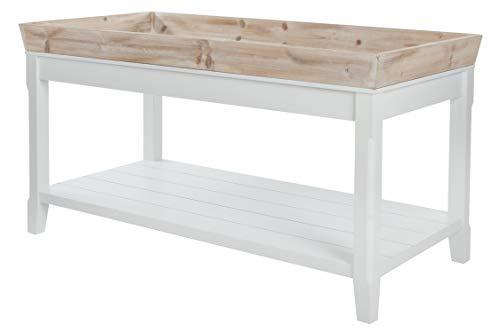 elbmöbel Couchtisch Tisch Beistelltisch weiß braun Landhaus Holztisch Holz robust Tablett