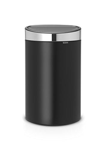 Brabantia Poubelle Touch Bin, 40 litres, Acier inoxydable/Noir Mat, Capacité 40 Litres, 72,7 cm x 43,5 cm x 30,2 cm