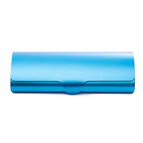 MIDI-ミディ メガネケース 超軽量 ワイド スリム アルミケース ハードケース ブルー 眼鏡拭き セット (p-09505-c3,p-k0055)